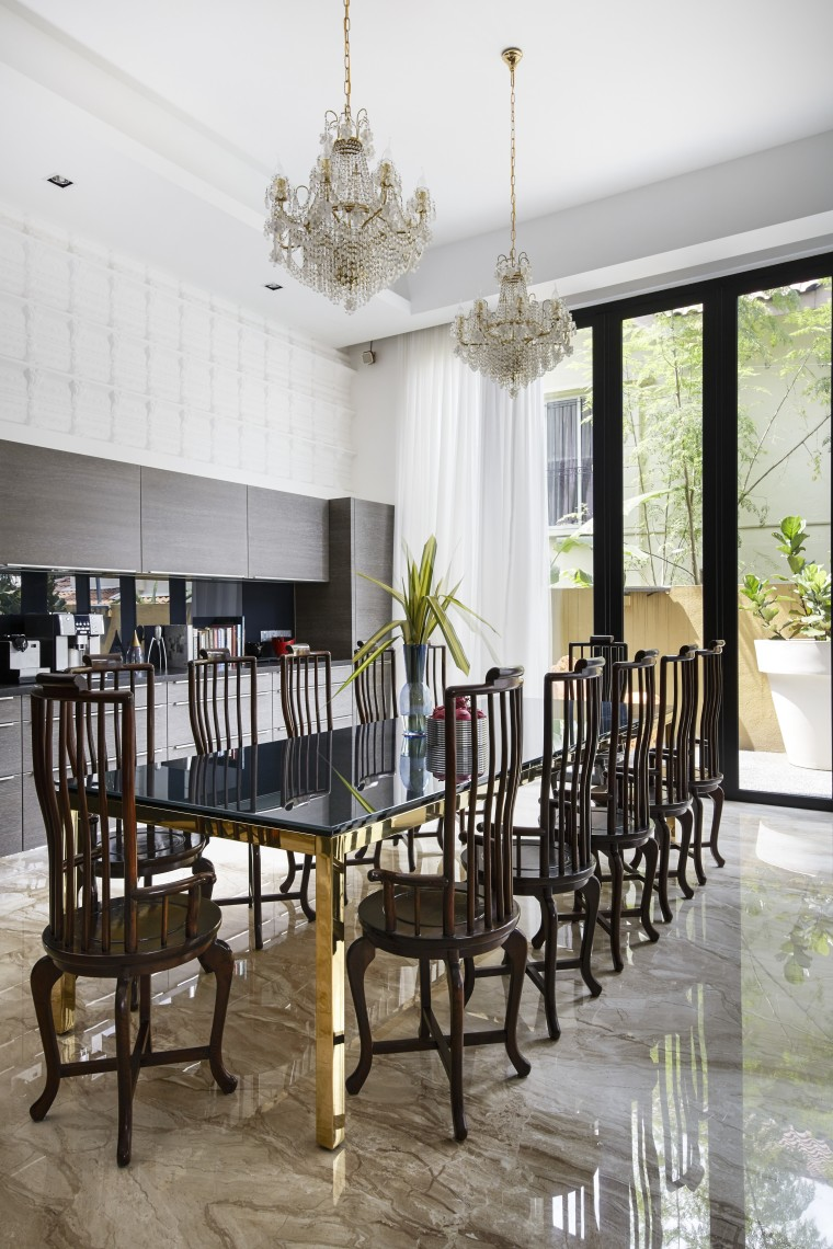 Contemporary meets classic  a modern German kitchen chair, dining room, furniture, home, interior design, room, table, white