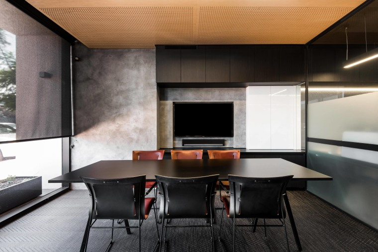 This separate meeting room at the studio of architecture, house, interior design, table, black