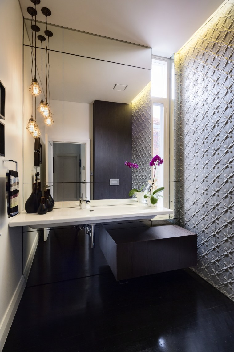 Segmented with Art Deco-like sections to downplay its architecture, bathroom, ceiling, countertop, floor, home, interior design, room, sink, black, gray