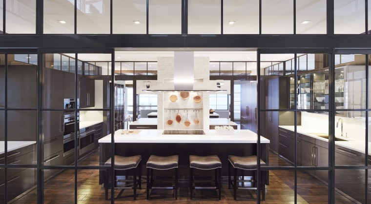 This homes entertaining kitchen is a fully equipped, architecture, interior design, lobby, black, white