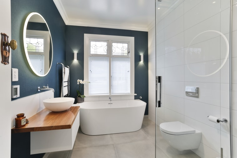 Incorporating bold colours will give your bathroom a bathroom, bathroom accessory, floor, home, interior design, plumbing fixture, product design, room, sink, gray