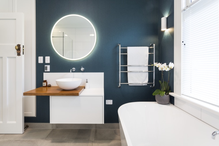 The round LED-edged mirror and electric teal colour bathroom, bathroom accessory, bathroom cabinet, interior design, plumbing fixture, product design, room, sink, tap, white