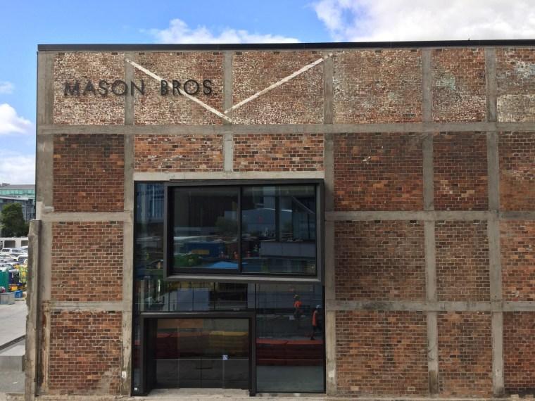 The Mason Bros building in the Wynyard Quarter architecture, brick, brickwork, door, facade, real estate, wall, window, brown