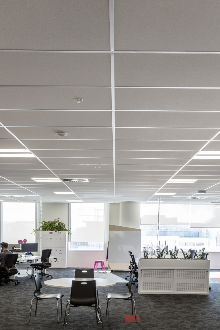 Acoustically superior Armstrong Ultima ceiling tiles were used architecture, ceiling, daylighting, interior design, gray, white
