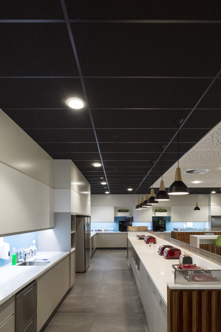 Eurocoustic Tonga tiles define and bring drama to architecture, ceiling, countertop, daylighting, interior design, kitchen, lighting, black, gray