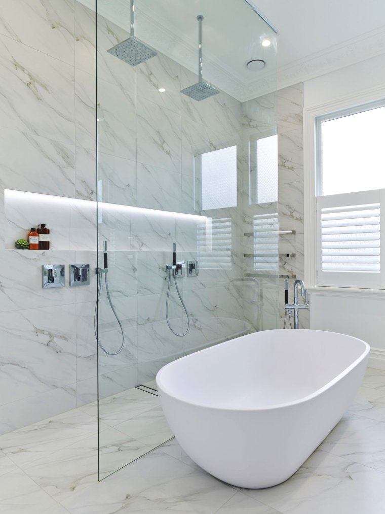 A floor-to-ceiling glass shower screen adds to the bathroom, bathroom sink, ceramic, floor, interior design, plumbing fixture, product design, tap, tile, gray