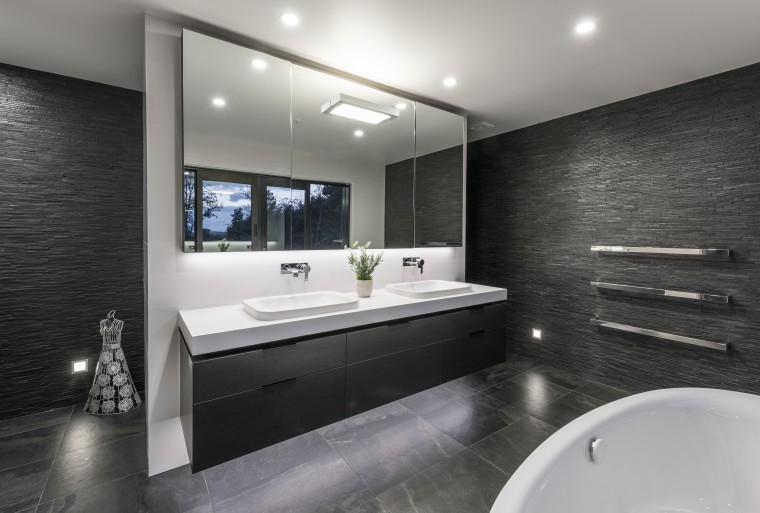 Despite the floor decoration on entry, this bathroom architecture, bathroom, interior design, room, black, gray
