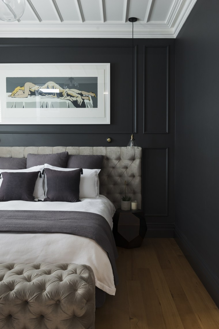 This moody master bedroom makeover by Katie bed frame, bedroom, ceiling, floor, home, interior design, room, wall, black, gray