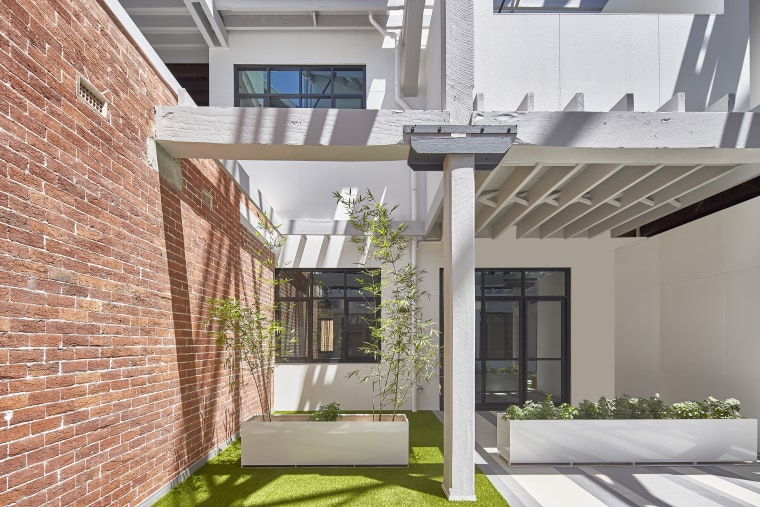 Original structural elements, detailing and materials have been architecture, condominium, courtyard, daylighting, elevation, facade, home, house, interior design, property, real estate, residential area, gray