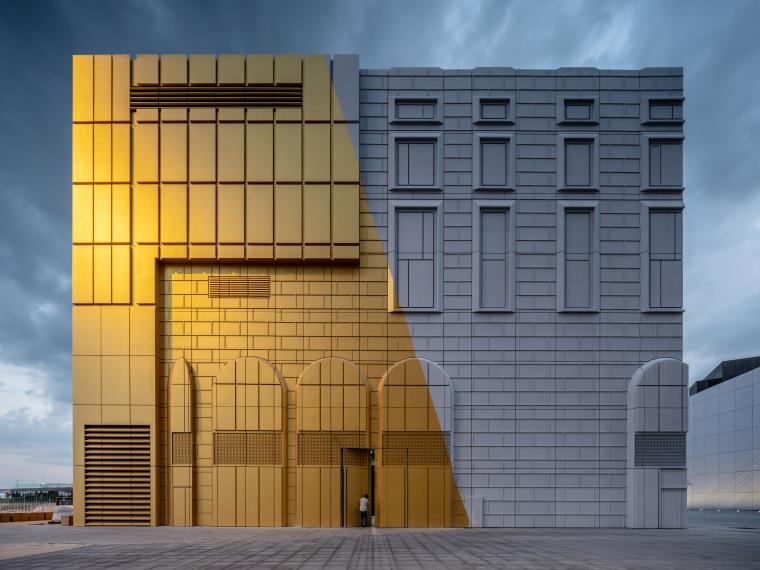 The façades of The Imprint are literally a architecture, building, commercial building, corporate headquarters, daylighting, daytime, elevation, facade, headquarters, landmark, line, real estate, residential area, sky, structure, window, gray