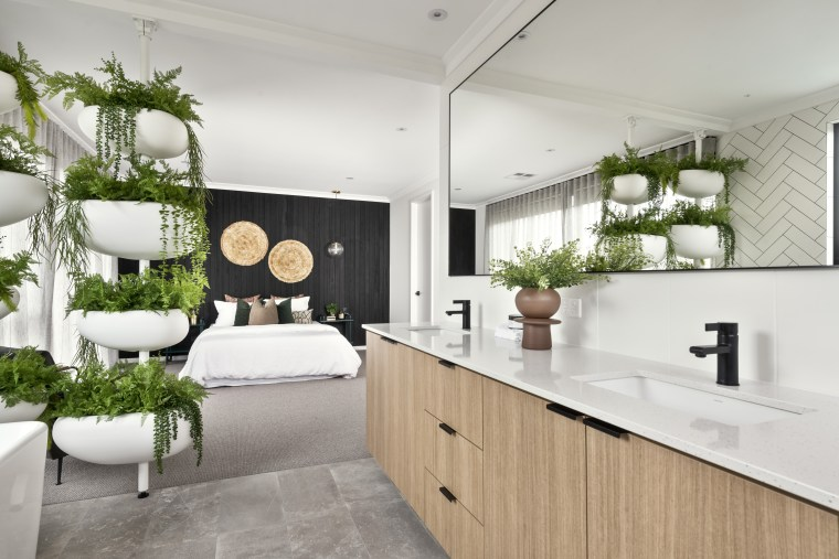 There are many potted plants you can choose architecture, bathroom, building, cabinetry, ceiling, countertop, design, floor, flooring, furniture, hardwood, home, house, interior design, kitchen, material property, property, real estate, room, sink, tile, white, gray, white