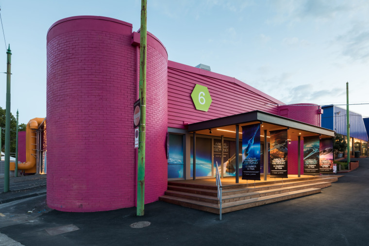 Winner – MOTAT Building 6 by Athfield Architects architecture, building, facade, house, magenta, pink, real estate