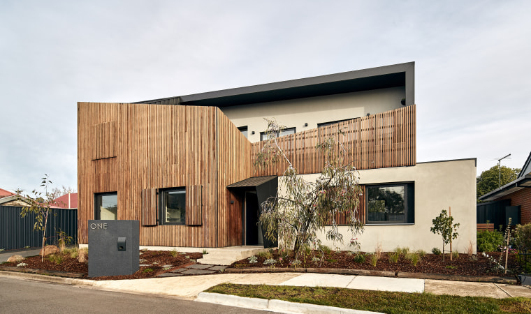 Privacy and outlooks go hand in hand with architecture, building, design, facade, home, house, interior design, property, real estate, residential area, roof, room, siding, tree, white, orange