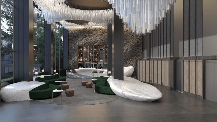 The lobby at the Art Hotel, designed by architecture, building, hotel, China, ceiling, column, floor, flooring, furniture, house, interior design, lobby, pavilion, property, room, gray, black