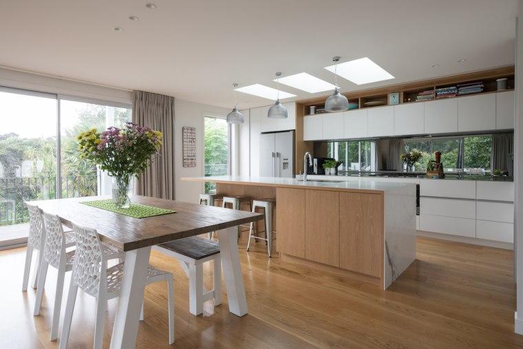 The floor plan consists of an open plan countertop, cuisine classique, floor, house, interior design, kitchen, real estate, gray