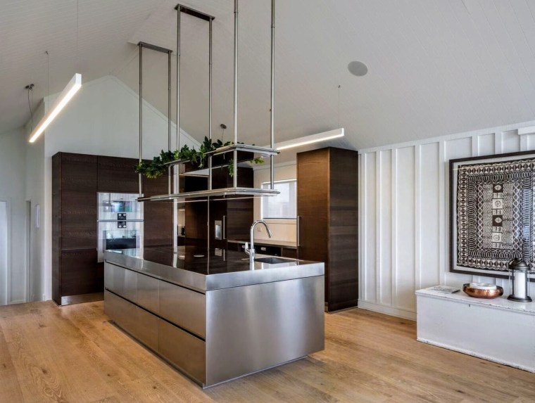Stainless steel island doors, tops and plinths contrast countertop, floor, interior design, kitchen, gray