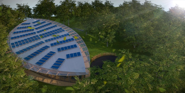 Solar panel roof view - architecture | biome architecture, biome, daytime, grass, leaf, plant, sky, tree, brown