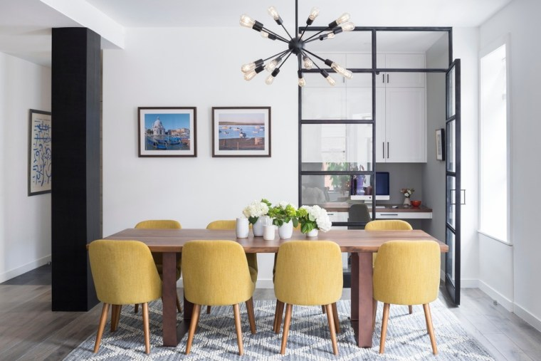 Dining Room and office alcove with custom blackened building, ceiling, chair, dining room, floor, furniture, home, house, interior design, kitchen & dining room table, living room, material property, property, real estate, room, table, yellow, white