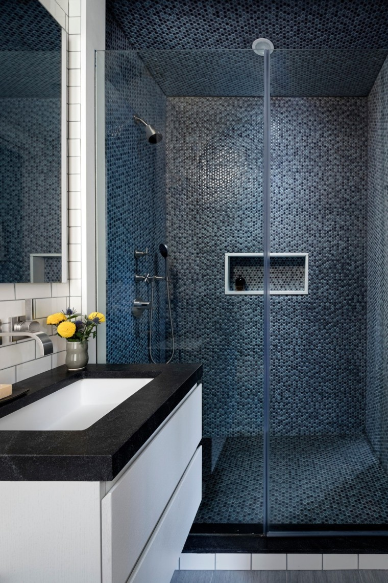 Master bathroom with penny tile shower, Furniture Guild architecture, bathroom, building, ceiling, countertop, floor, flooring, house, interior design, material property, plumbing fixture, property, room, tile, wall, black, gray