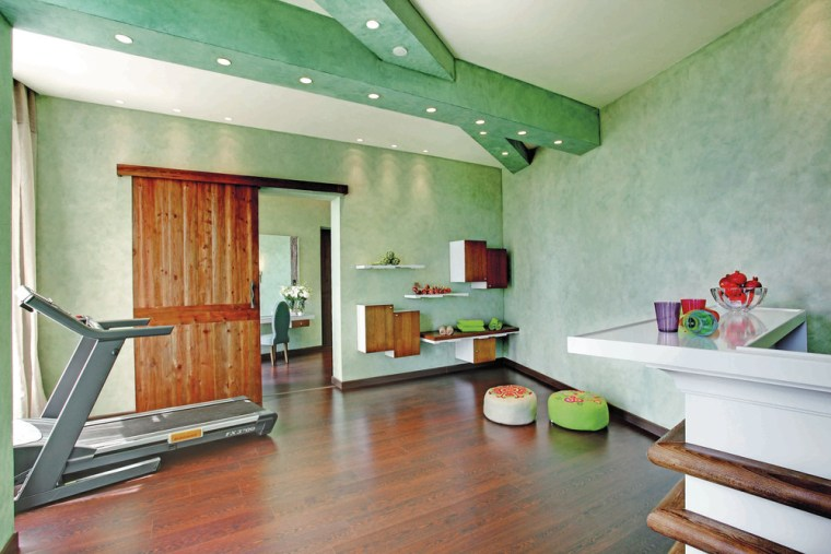 Hues of greens and blue help to bring architecture, attic, building, ceiling, floor, flooring, furniture, hardwood, home, house, interior design, laminate flooring, living room, loft, property, real estate, room, wall, wood flooring, green