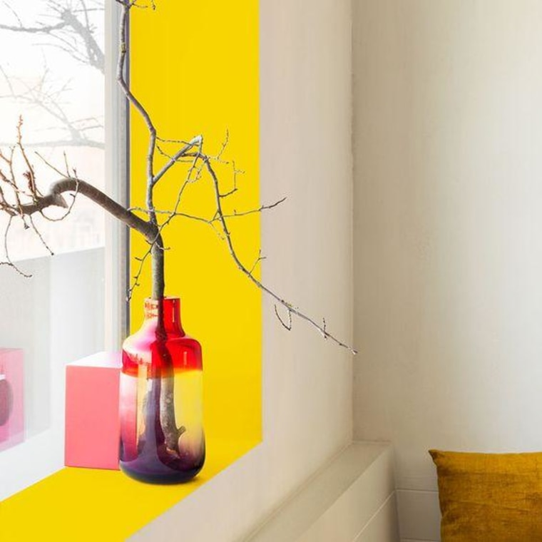 Add a bright colour to your window interior design, orange, room, vase, wall, wallpaper, yellow, white