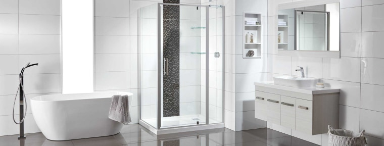 In need of a bathroom makeover? Be in architecture, automotive exterior, bathroom, door, floor, glass, material property, plumbing fixture, product, room, shower, shower door, shower panel, tile, white