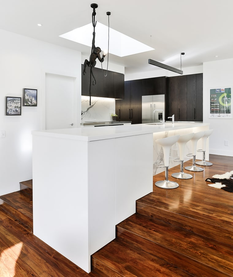 Stepped response – where the stairs go, the architecture, building, cabinetry, ceiling, countertop, design, floor, flooring, furniture, hardwood, home, house, interior design, kitchen, laminate flooring, loft, material property, property, room, table, white, wood, wood flooring, white