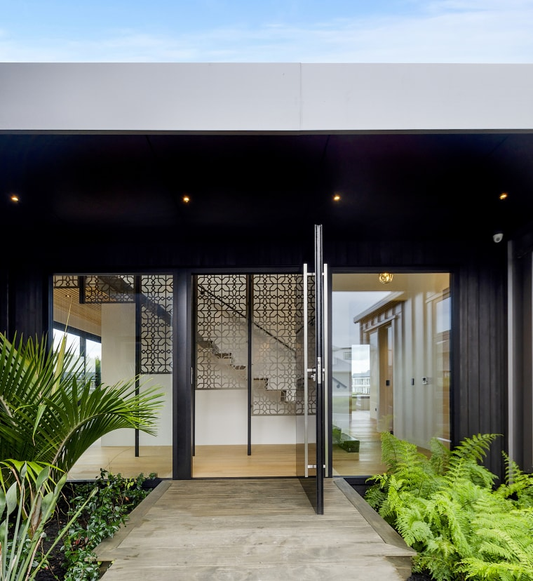 Entrance into this David Reid-designed and built home black