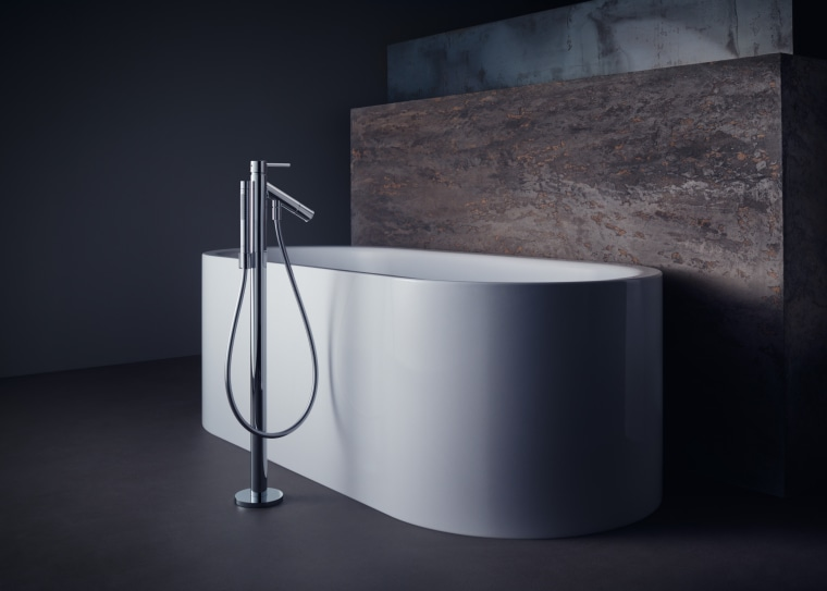 Philippe Starck's classic bathtub was designed to complement bathroom sink, material property, plumbing fixture, room, sink, still life photography, table, tap, black