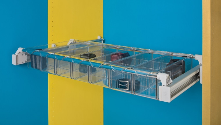 Ambos pull out drawers are clear, making it glass, plastic, product, teal