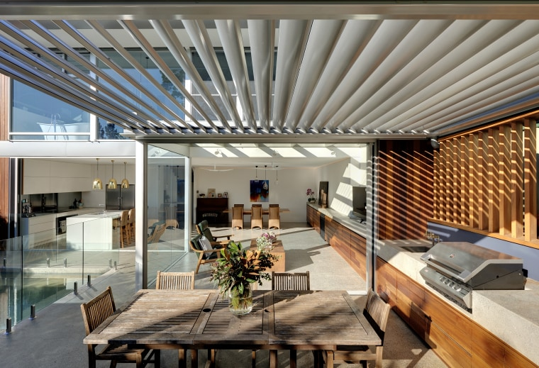 The new 220 Slimline Retract Roof louvres include apartment, architecture, building, ceiling, daylighting, design, floor, furniture, home, house, interior design, living room, loft, mixed-use, property, real estate, roof, room, shade, gray