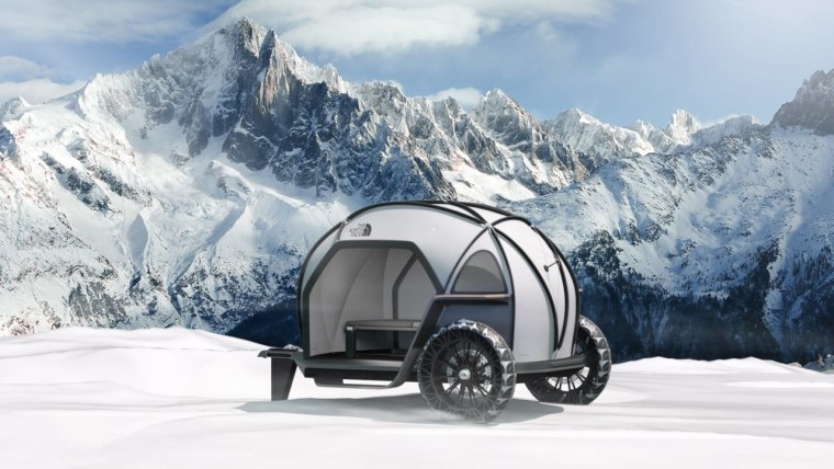 BMW-Northface Camper – a material-showcasing concept automotive design, automotive tire, automotive wheel system, car, mode of transport, motor vehicle, mountain range, tire, trailer, travel trailer, vehicle, gray, white