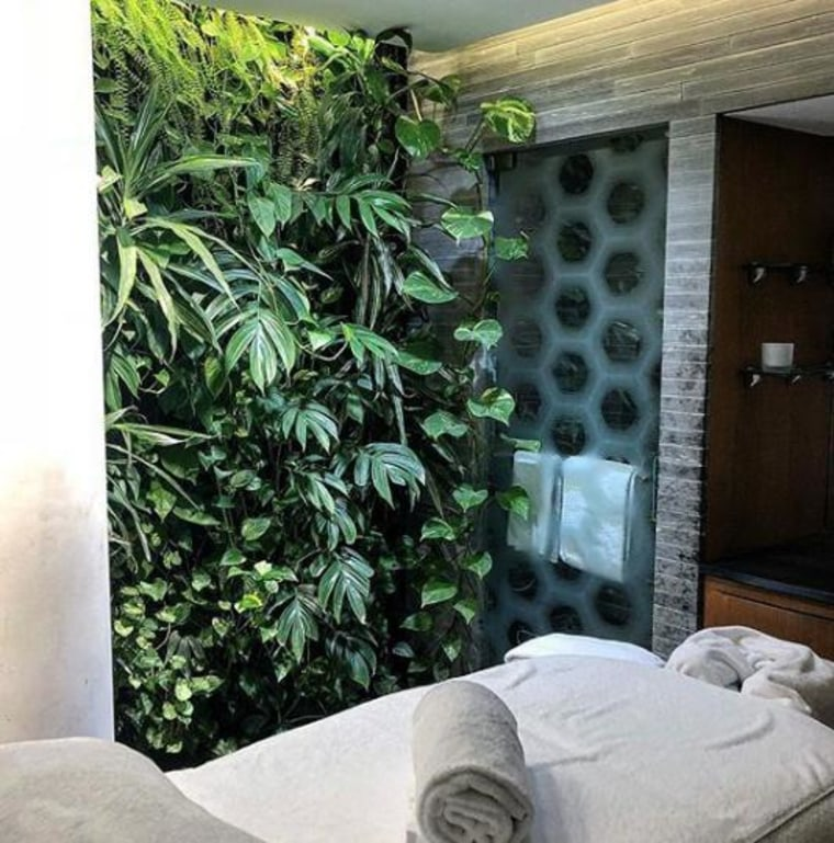 Adding a greenwall to your bathroom will give plant, wall, black