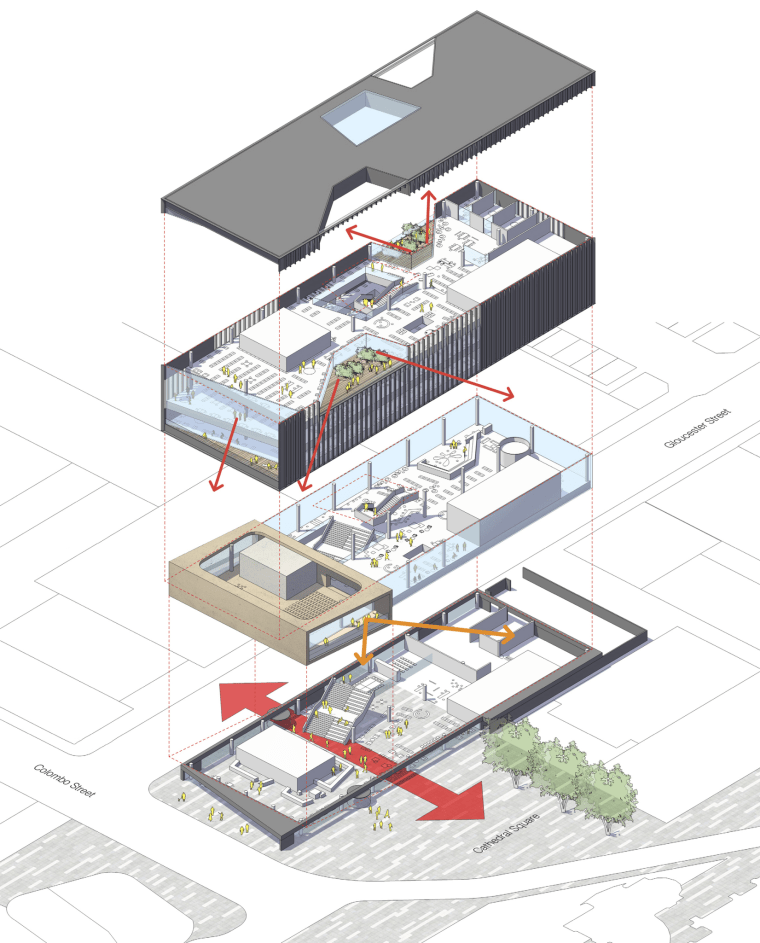 Christchurch Central Library – diagram  architecture, diagram, structure, urban design, white