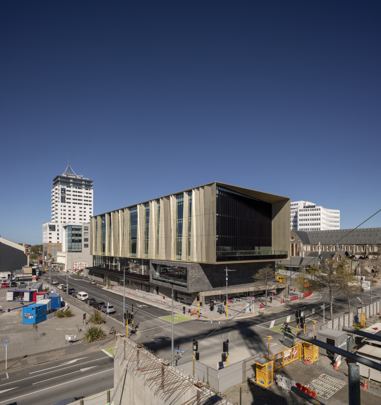 Christchurch Central Library – large concrete walls are architecture, building, city, commercial building, condominium, corporate headquarters, daytime, downtown, facade, headquarters, metropolis, metropolitan area, mixed use, real estate, residential area, sky, urban area, blue, gray