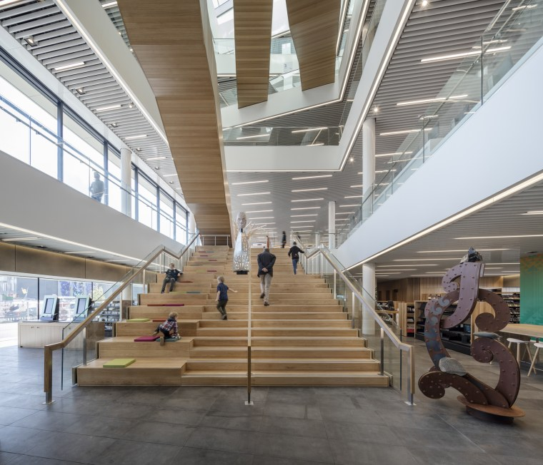 Christchurch Central Library – the open, inviting entrance airport terminal, architecture, building, ceiling, daylighting, interior design, lobby, metropolitan area, mixed use, shopping mall, structure, gray, white
