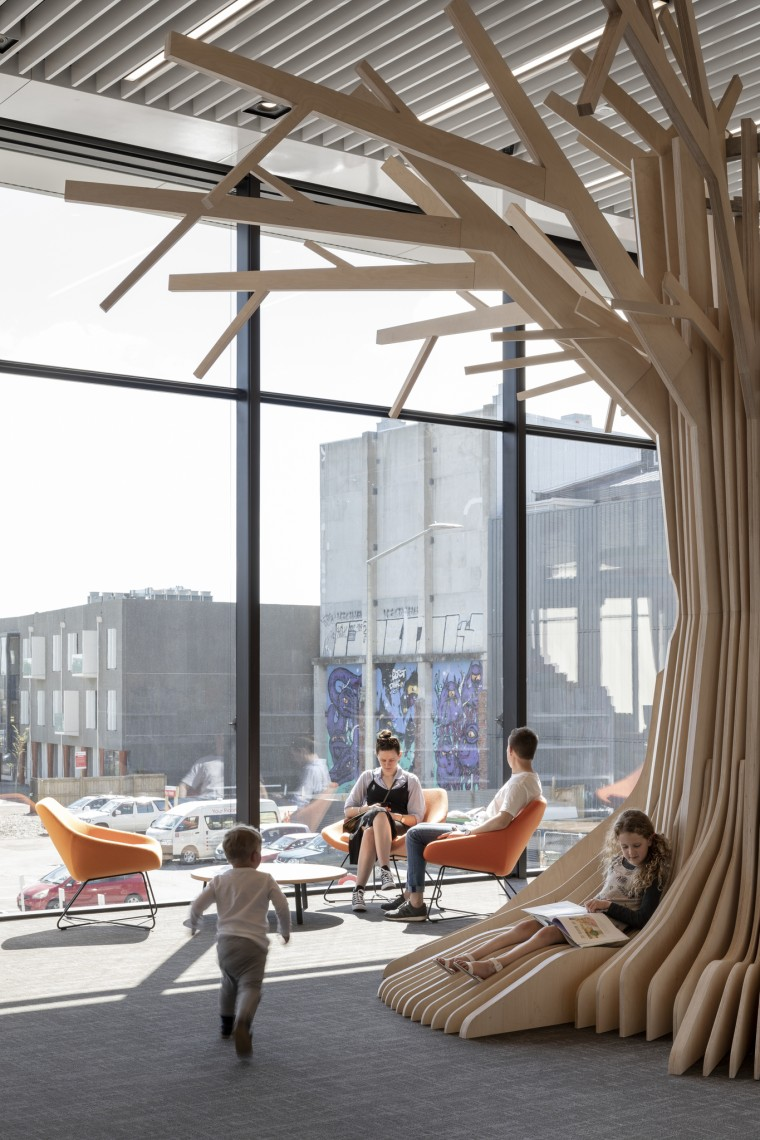 Christchurch Central Library – a children's reading cave architecture, building, daylighting, structure, gray, white