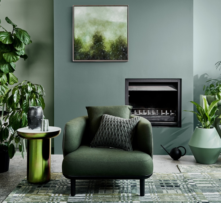 Dulux Colour Forecast 2020 Cultivate Palette. Colours: Dulux chair, couch, flowerpot, furniture, green, houseplant, interior design, living room, plant, room, table, wall, gray