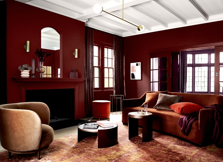 Dulux Colour Forecast 2020 Indulge Palette. Colours: Dulux building, ceiling, coffee table, couch, floor, furniture, home, house, interior design, living room, loft, property, room, table, red