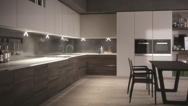 Using LED bulbs can dramatically slash your cabinetry, countertop, cuisine classique, floor, flooring, interior design, kitchen, room, gray, black