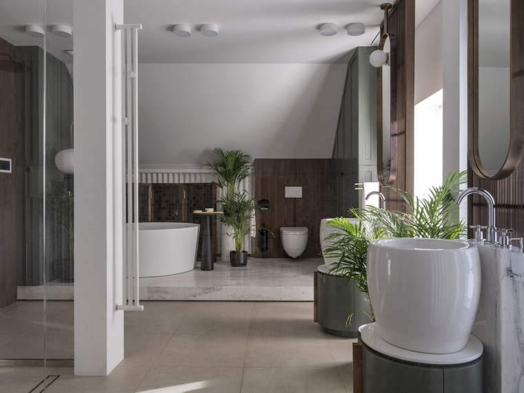 The owners of this bathroom wanted a modern architecture, bathroom, building, ceiling, floor, flooring, flowerpot, house, houseplant, interior design, lobby, property, real estate, room, tile, gray
