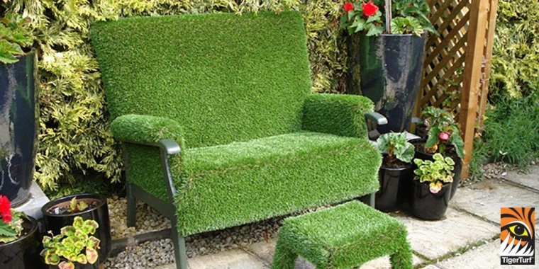 A chair furnished with TigerTurf for added backyard, chair, furniture, garden, grass, hedge, landscaping, lawn, outdoor furniture, outdoor structure, plant, shrub, tree, yard, green