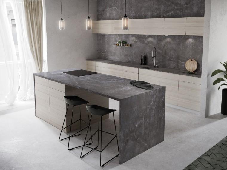 Cosentino Dekton Kitchen Laos cabinetry, concrete, countertop, cuisine classique, floor, flooring, furniture, interior design, kitchen, table, tile, wall, gray, white
