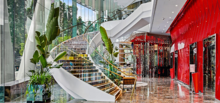 Emporium Hotel 1 - architecture | building | architecture, building, design, interior design, lobby, mixed-use, property, real estate, room, shopping mall, gray
