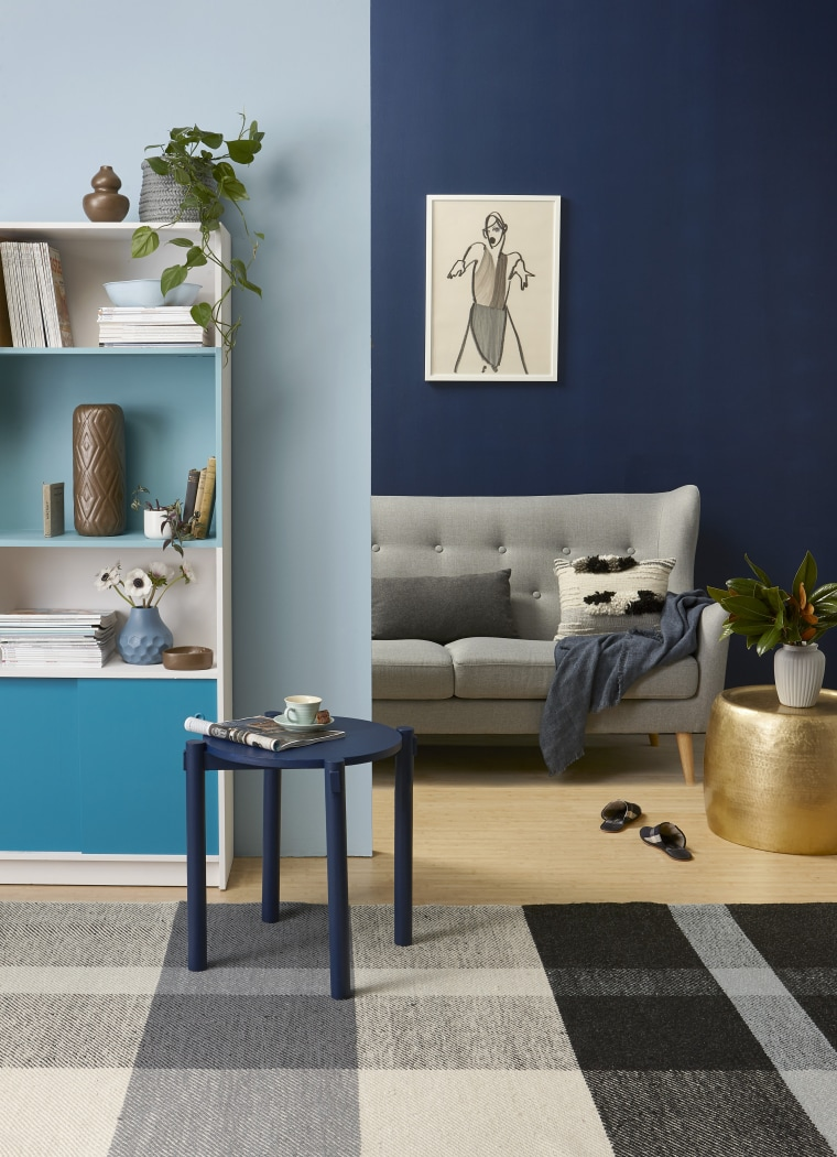 Photo by Melanie Jenkins, styling by Gem Adams chair, coffee table, floor, flooring, furniture, home, interior design, living room, table, wall, gray