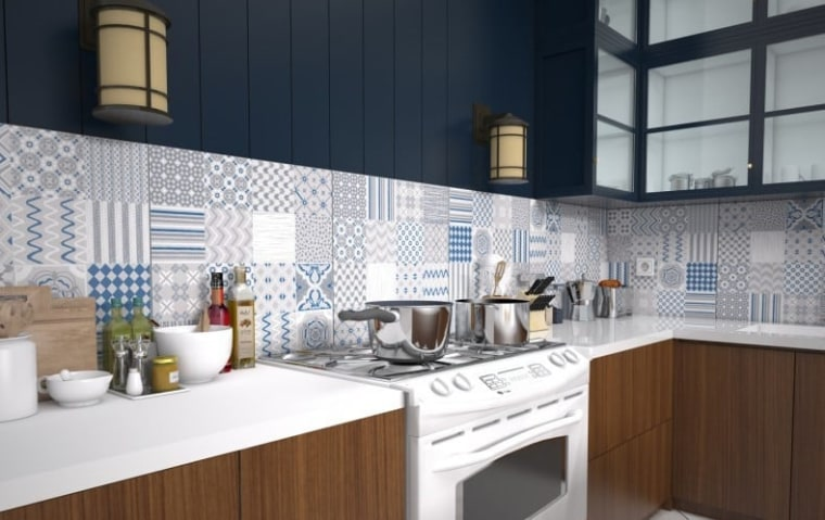 A mixture of 16 different graphics on each countertop, cuisine classique, interior design, kitchen, white, black