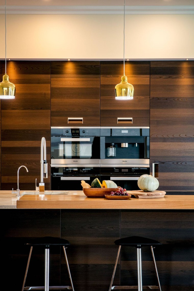 The connection of all the materials used in countertop, interior design, kitchen, black, orange, brown