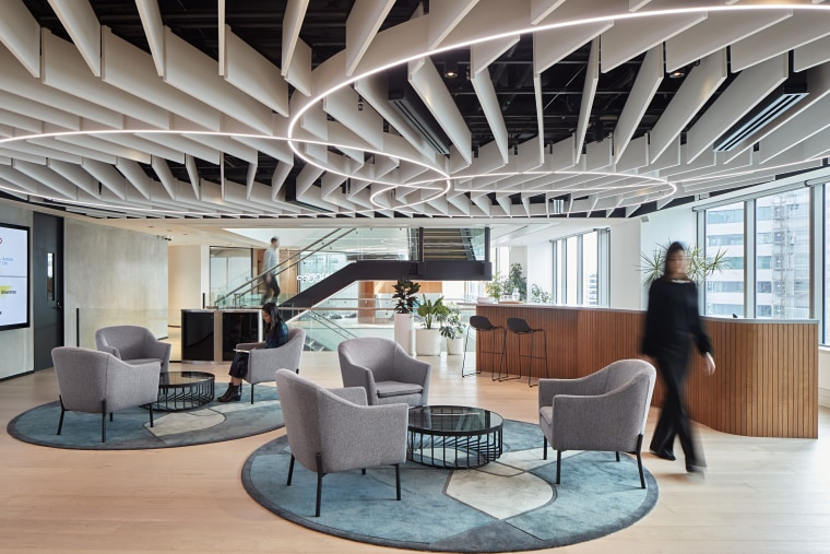 See the full story architecture, ceiling, daylighting, furniture, interior design, lobby, gray