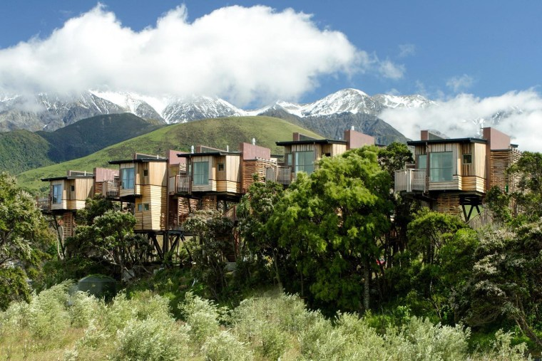 Hapuku tree houses, Kaikoura, New Zealand - architecture architecture, building, highland, hill, hill station, home, house, human settlement, landscape, mount scenery, mountain, mountain range, mountain village, mountainous landforms, natural landscape, property, real estate, residential area, rural area, sky, suburb, town, tree, village, brown