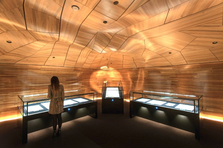 WINNER: He Tohu Document Centre / He Tohu Document architecture, ceiling, daylighting, interior design, lighting, recreation room, symmetry, wood, brown